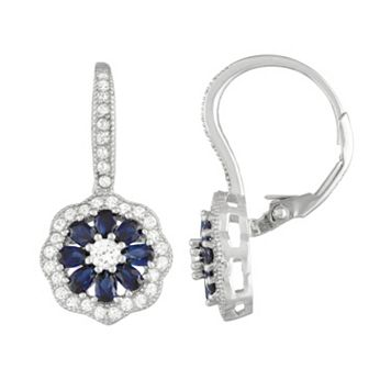 Sterling Silver Lab-Created Blue & White Sapphire Flower Drop Earrings