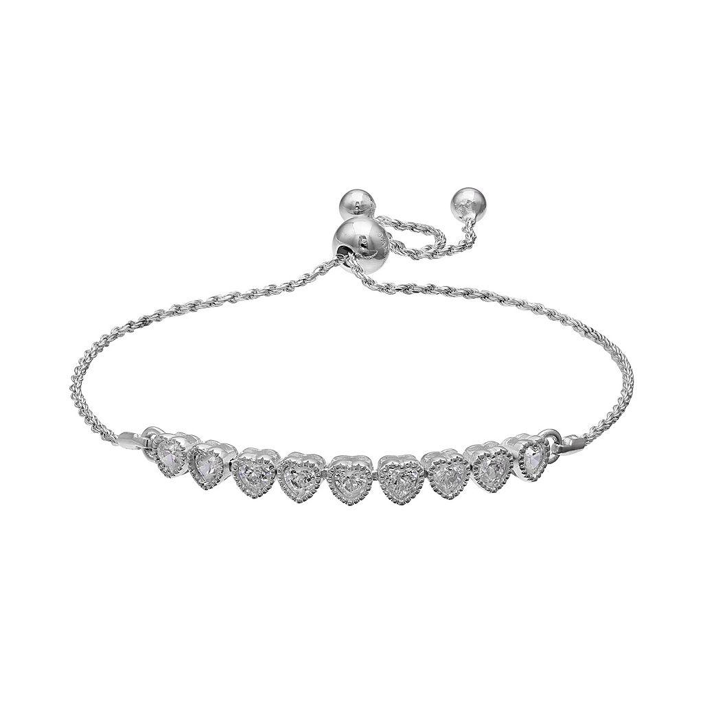 PRIMROSE Sterling Silver Cubic Zirconia Heart Lariat Bracelet