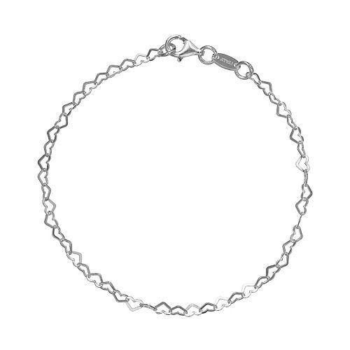 PRIMROSE Sterling Silver Heart Link Bracelet - 7 in.