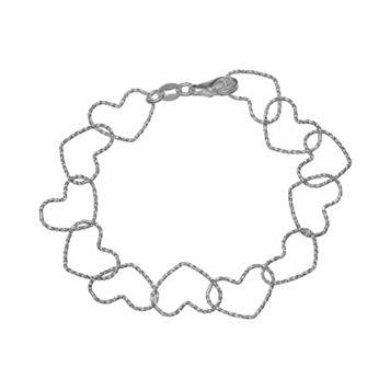 PRIMROSE Sterling Silver Textured Heart Link Bracelet