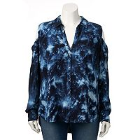 Plus Size Rock & Republic® Tie-Dye Cold-Shoulder Shirt