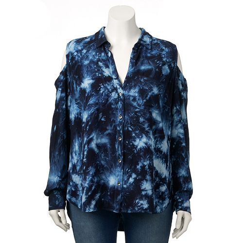 1fa5ff9239949 Plus Size Rock   Republic® Tie-Dye Cold-Shoulder Shirt