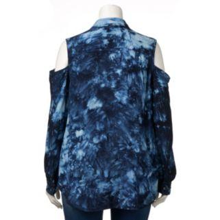 Plus Size Rock & Republic® Tie-Dye Cold-Shoulder Shirt