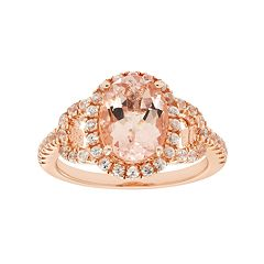 14k Rose Gold Over Silver Morganite & White Zircon Oval Halo Ring