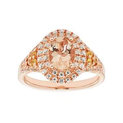 14k Rose Gold Over Silver Morganite & White Zircon Tiered Oval Halo Ring
