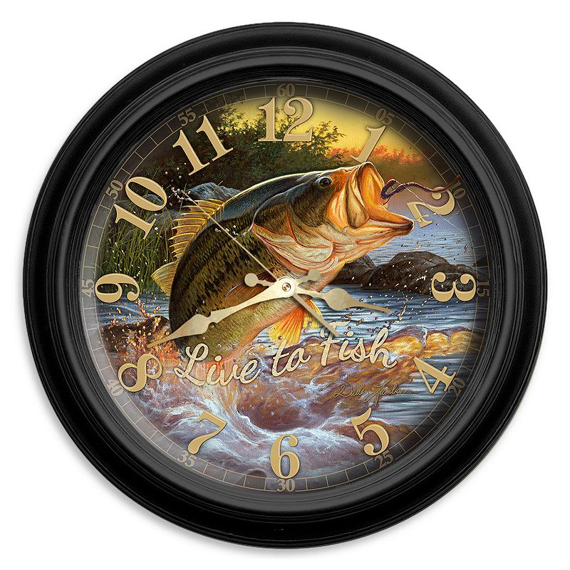 "Reflective Art ""Live to Fish"" Wall Clock, Multicolor"