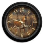 "Reflective Art ""Live to Hunt"" Wall Clock"