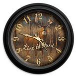 "Reflective Art ""Live to Hunt"" Wall Clock"