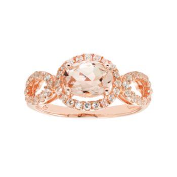14k Rose Gold Over Silver Morganite & White Zircon Oval Halo Ring