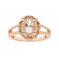 14k Rose Gold Over Silver Morganite & White Zircon Scalloped Oval Halo Ring