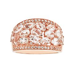 14k Rose Gold Over Silver Morganite & White Zircon Ring