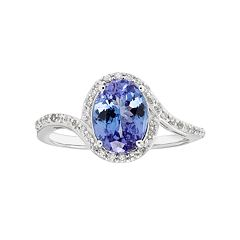 Sterling Silver Tanzanite & White Zircon Bypass Ring by