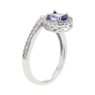Sterling Silver Tanzanite & White Zircon Oval Halo Ring