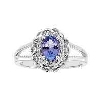 Sterling Silver Tanzanite & White Zircon Scalloped Oval Halo Ring