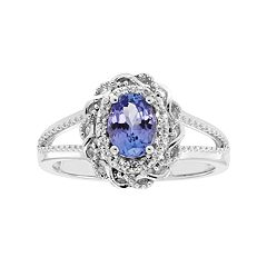 Sterling Silver Tanzanite & White Zircon Scalloped Oval Halo Ring by