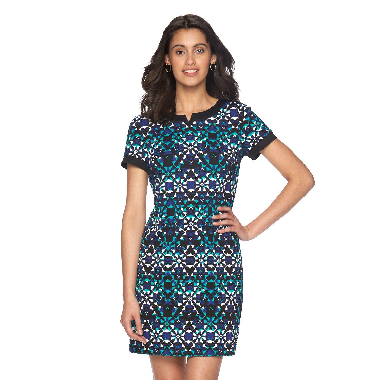 Womens Suite 7 Textured Kaleidoscope Shift Dress