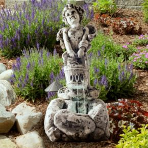 Navarro LED Cherub Outdoor Fountain