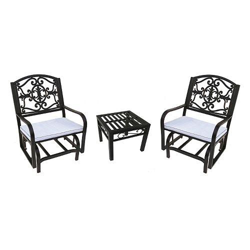 Brilliant Lakeville Outdoor Glider Chair 3 Piece Set Machost Co Dining Chair Design Ideas Machostcouk