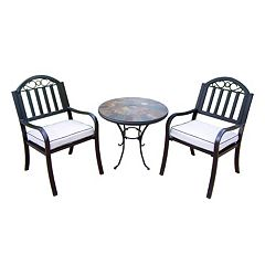 Rochester Outdoor Umbrella-Ready Table & Cushioned Chair 3-piece Set