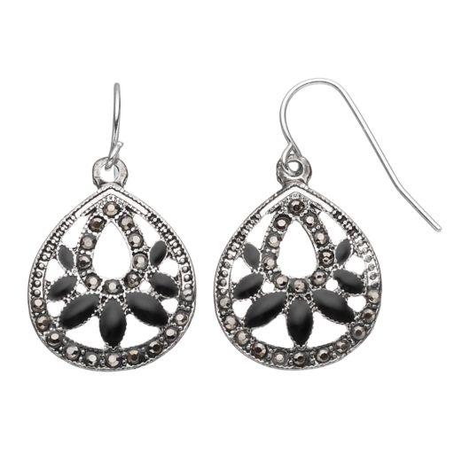Black Stone Nickel Free Teardrop Earrings