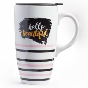 """Hello Beautiful"" Latte Mug with Lid"