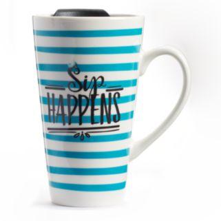 """""""Sip Happens"""" Latte Mug with Lid"""