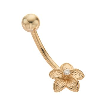 10k Gold Cubic Zirconia Flower Belly Ring