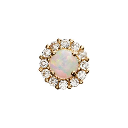 10k Gold Lab-Created Opal & Cubic Zirconia Reversible Cartilage Stud - Single Earring