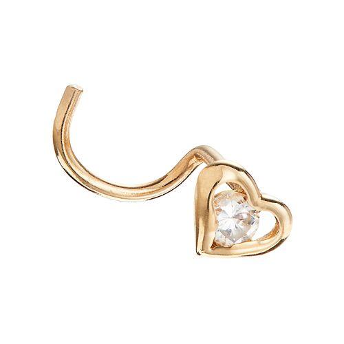 10k Gold Cubic Zirconia 4 mm Heart Nose Stud