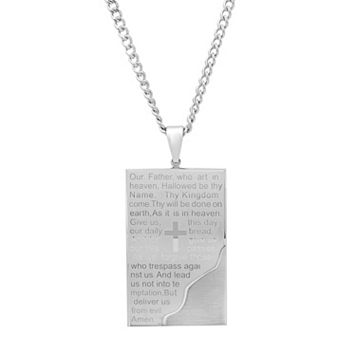 Men's Stainless Steel The Lord's Prayer Pendant Necklace