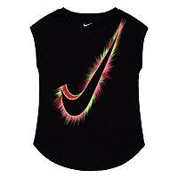 Girls 4-6x Nike Swoosh Logo Burst Curved Shimmer Tee