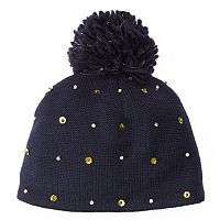 Women's SIJJL Wool Rhinestone & Beaded Beanie