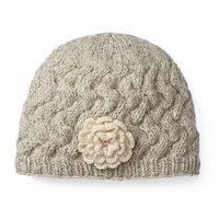 Women's SIJJL Wool Cable-Knit Rosette Beanie
