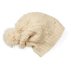 Women's SIJJL Wool Cable-Knit Slouchy Pom-Pom Beanie