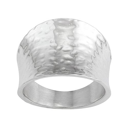 Sterling Silver Hammered Cigar Band Ring
