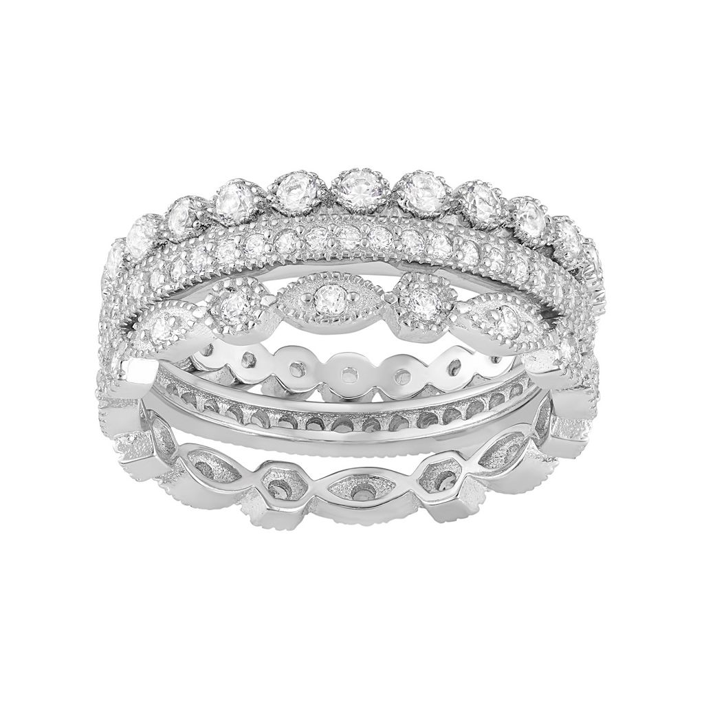 Sterling Silver Lab-Created White Sapphire Scalloped Stack Ring Set