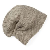 Women's SIJJL Wool Zigzag Cable-Knit Slouchy Beanie