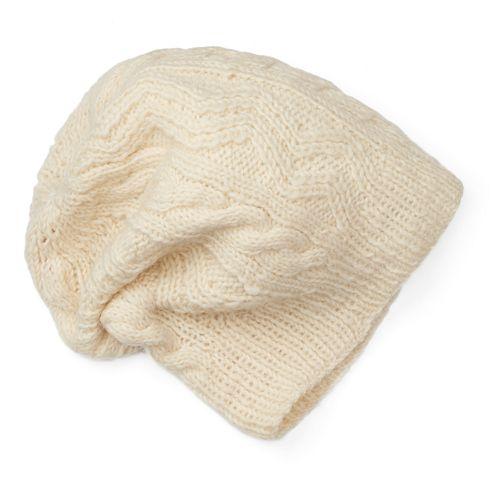 Women's SIJJL Wool Zigzag Cable-Knit Slouchy Beanie