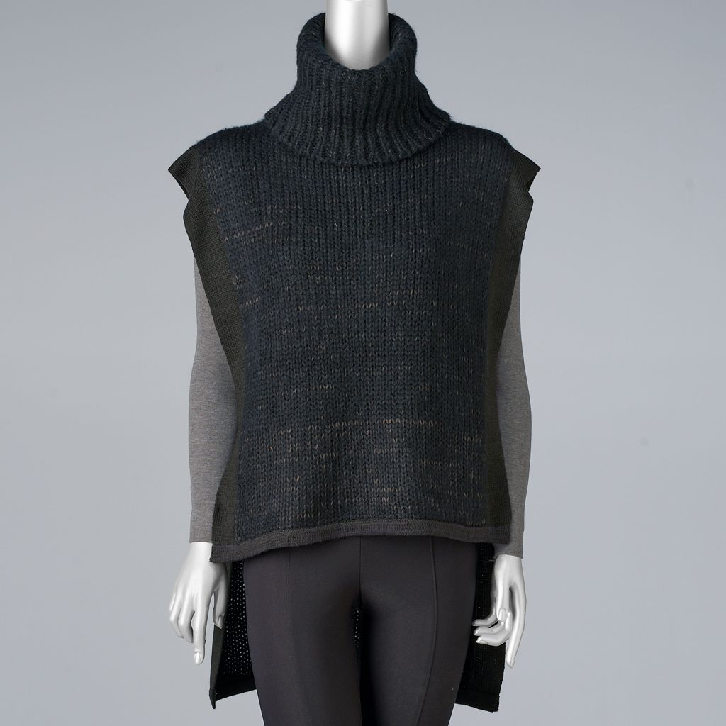 Women's Simply Vera Vera Wang Sleeveless Turtleneck Poncho