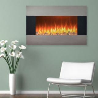 """Northwest 36"""" Stainless Wall Mount Electric Fireplace & Floor Stand"""
