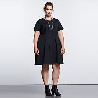 Plus Size Simply Vera Vera Wang Simply Noir Ponte Fit & Flare Dress