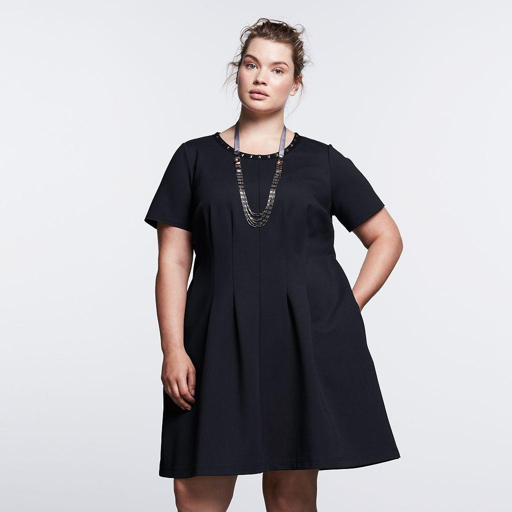 Plus Size Simply Vera Vera Wang Simply Noir Ponte Fit & Flare Dress