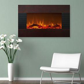 "Northwest 36"" Mahogany Finish Wall Mount Fireplace & Floor Stand"