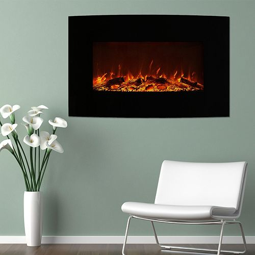 "Northwest 36"" Curved Color Changing Wall Mount Fireplace & Floor Stand"