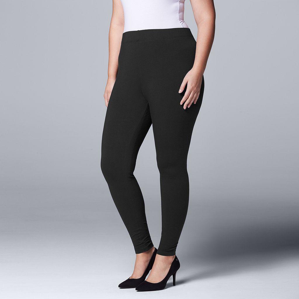 Plus Size Simply Vera Vera Wang Solid Leggings