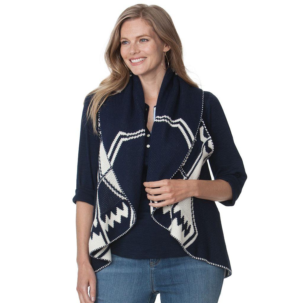 Plus Size Chaps Tribal Sweater Vest