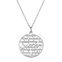 Sterling Silver 'Sister' Disc Pendant Necklace