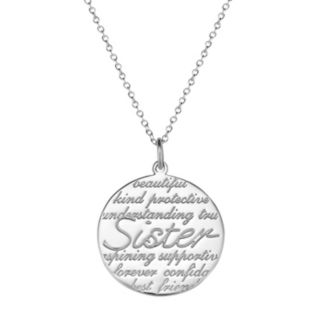 """Sterling Silver """"Sister"""" Disc Pendant Necklace"""
