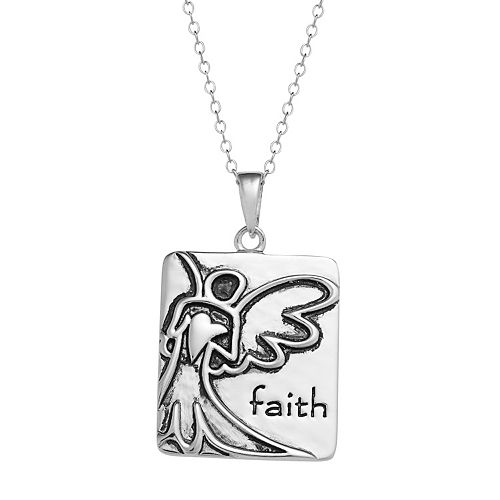 "Sterling Silver ""Faith"" Angel Pendant Necklace"