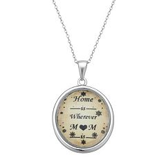 Sterling Silver 'Home Is Wherever Mom Is' Pendant Necklace